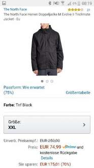 Abgelaufen - (Amazon) The North Face Herren Doppeljacke M Evolve Ii Triclimate Jacket in XXL für 74,99€