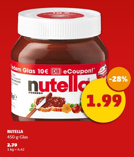Nutella für 1,99 € bei Penny mit 10€ Bahn eCoupon