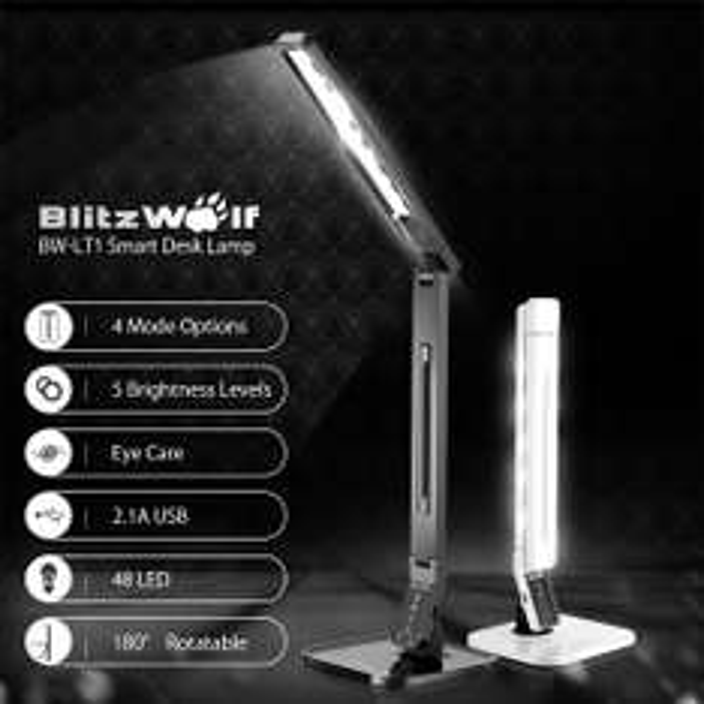 BlitzWolf BW-LT1 Schreibtischlampe (960lm, CRI>90) mit USB Port (2.1A)