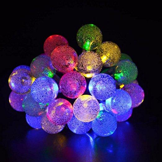 amazon MEHRFARBIGE Solar Lichterkette, 6M 30 LED Kristallkugeln