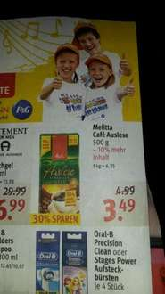 Melitta Café Auslese bei Rossmann 6,35 Euro / kg abzgl. 10% = 5,72 Euro / kg