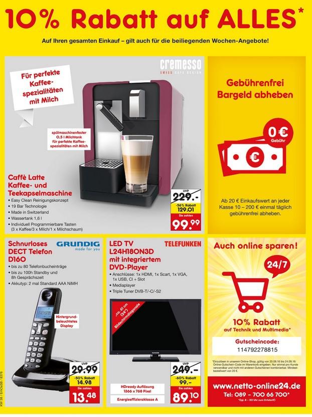 [lokal München - Leopoldstr.] Schnurloses DECT Telefon Grundig D160 für 13,48€ @ Netto