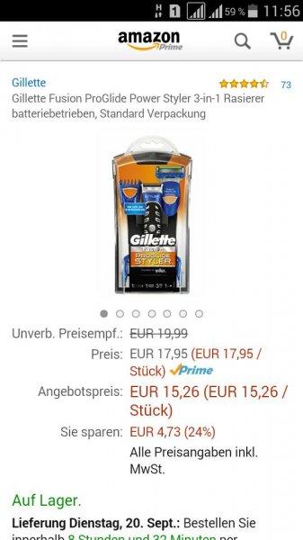 (Amazon Prime) Gillette Fusion ProGlide Power Styler 3-in-1 Rasierer batteriebetrieben, Standard Verpackung