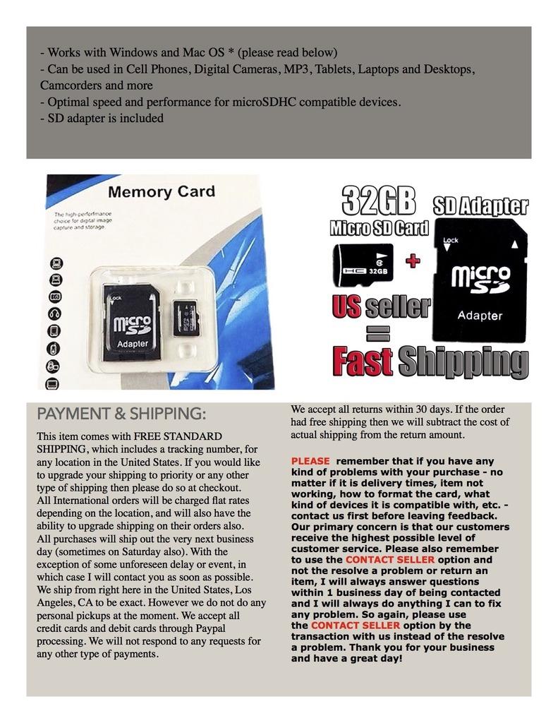32GB Micro SD Card TF Flash Memory MicroSD MicroSDHC Class 10 Free Adapter
