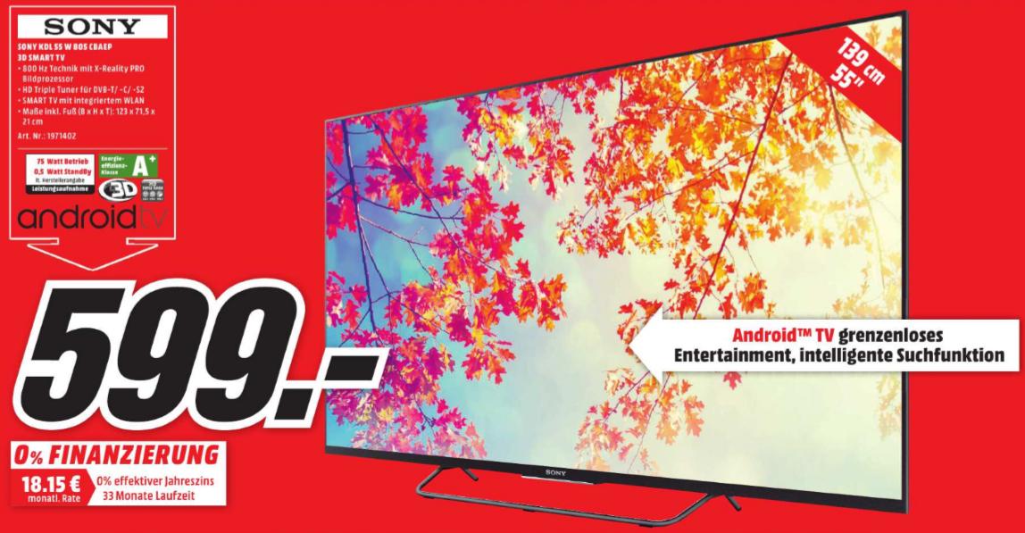 Sony KDL-55W805C, FHD, 3D, 55Zoll! 599€, NEUER BESTPREIS! [MediaMarkt Paderborn, Nur Lokal!]