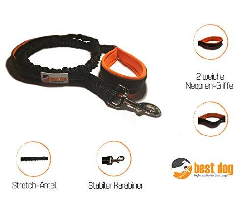 Best Dog Hundeleine (Flexible Hundeführleine mit 2 weichen Neopren-Griffen),schwarz-orange bei AMAZON für 9,95€ statt 19,99€