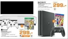 [Lokal Saturn Hamburg/Norderstedt] Mi­cro­soft Xbox One S 500 GB Weiß in­klu­si­ve FIFA 17 + 2.ten Controller für 299,-€ oder Sony PlayStation 4 (PS4) Slim 500GB inc. Fifa 17 für 299,-€