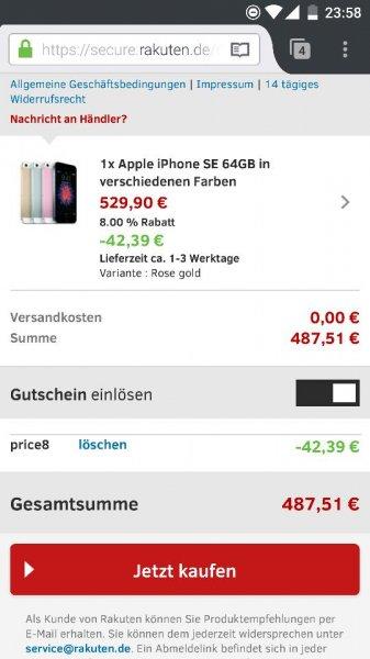 iPhone SE 64GB für 487,51 durch Gutscheincode