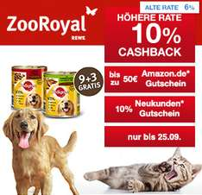 [Shoop.de]ZooRoyal: 10% Cashback + 10% Neukunden-Gutschein + 10€, 25€ oder 50€ Amazon.de Gutschein*