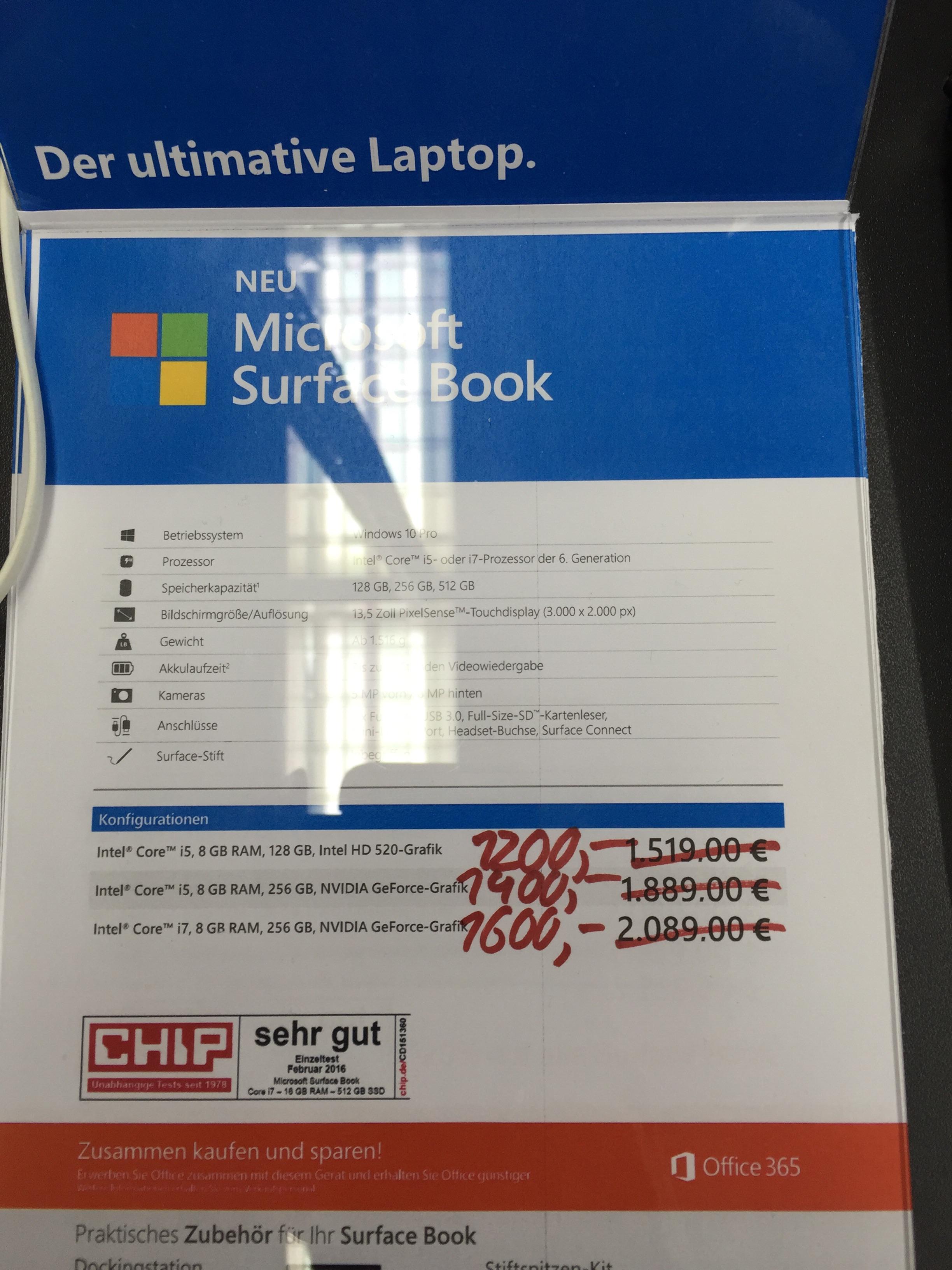 (Media Markt Köln Hohe Str) Surface Book und pro 4 bis zu 490 Euro sparnis