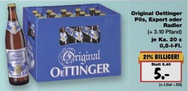 [Kaufland] 20er Kasten Oettinger Pils/Export/Radler für 5€ – 22.9.2016 bis 28.9.2016