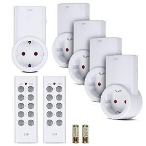 Etekcity Funksteckdosen Set aus 5 Funksteckdosen und 2 Fernbedienungen, Selbstlern-Funktion, 2300 Watt