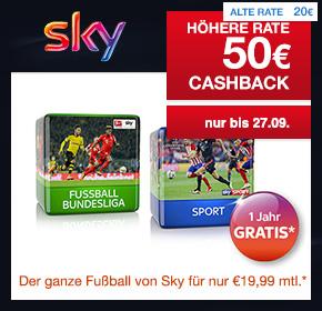 Sky Abo Sport und Bundesliga + 50€ Cashback