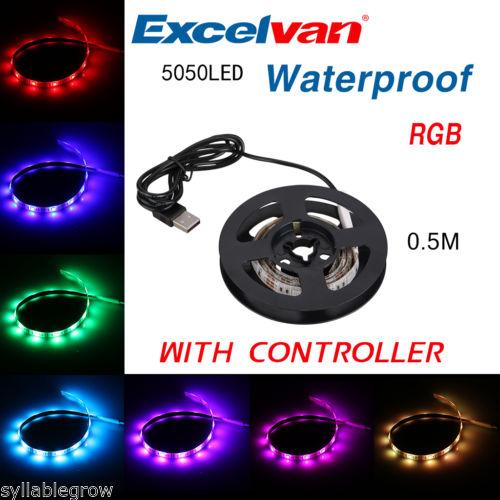 USB RGB LED Streifen Lichtleiste Lichtband Lichterkette mit Regler (0,5 Meter)