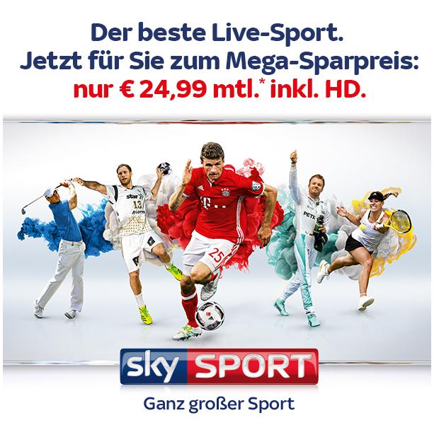 Sky: 2 Premiumpakete incl. HD 24,99€ mtl., 3 Premiumpakete 34,99€ mtl.