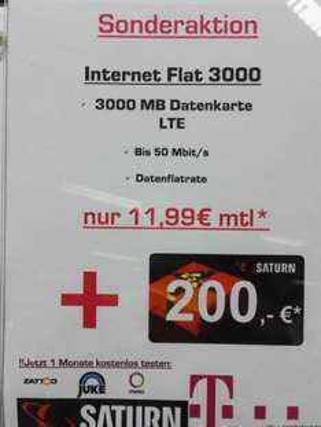 (Lokal Gelsenkirchen HBF) Mobilcom Debitel 3 GB Datenflat plus 200 EUR Saturn Gutschein