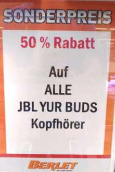 50% auf JBL YUR BUDS Kopfhörer z.b. Hybrid Wireless für 35€ bei Berlet Dortmund Indupark