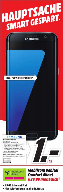 Lokal - MM - Mönchengladbach - Samsung Galaxy S7 Edge + Tab E + 1,5GB Telekom Allnet Comfort