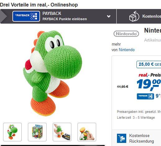 [real.de] online: Amiibo Mega Yarn Yoshi für 19 EUR (versandkostenfrei ab 29 EUR oder Marktabholung)
