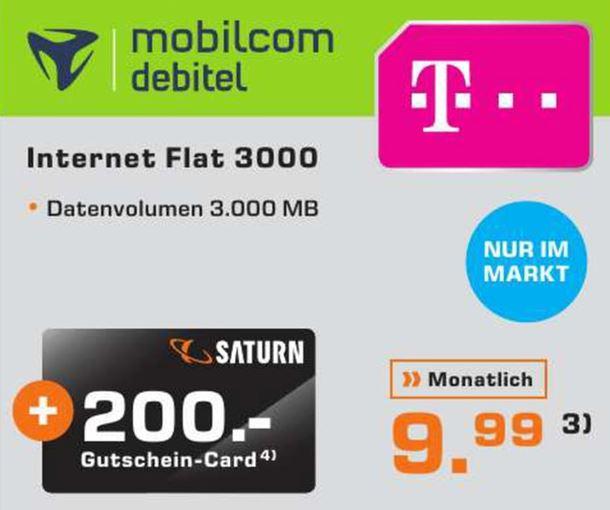 *Lokal* Bad Homburg (Frankfurt) Mobilcom Debitel Telekom 3 GB Datenflat plus 200 EUR Saturn Gutschein