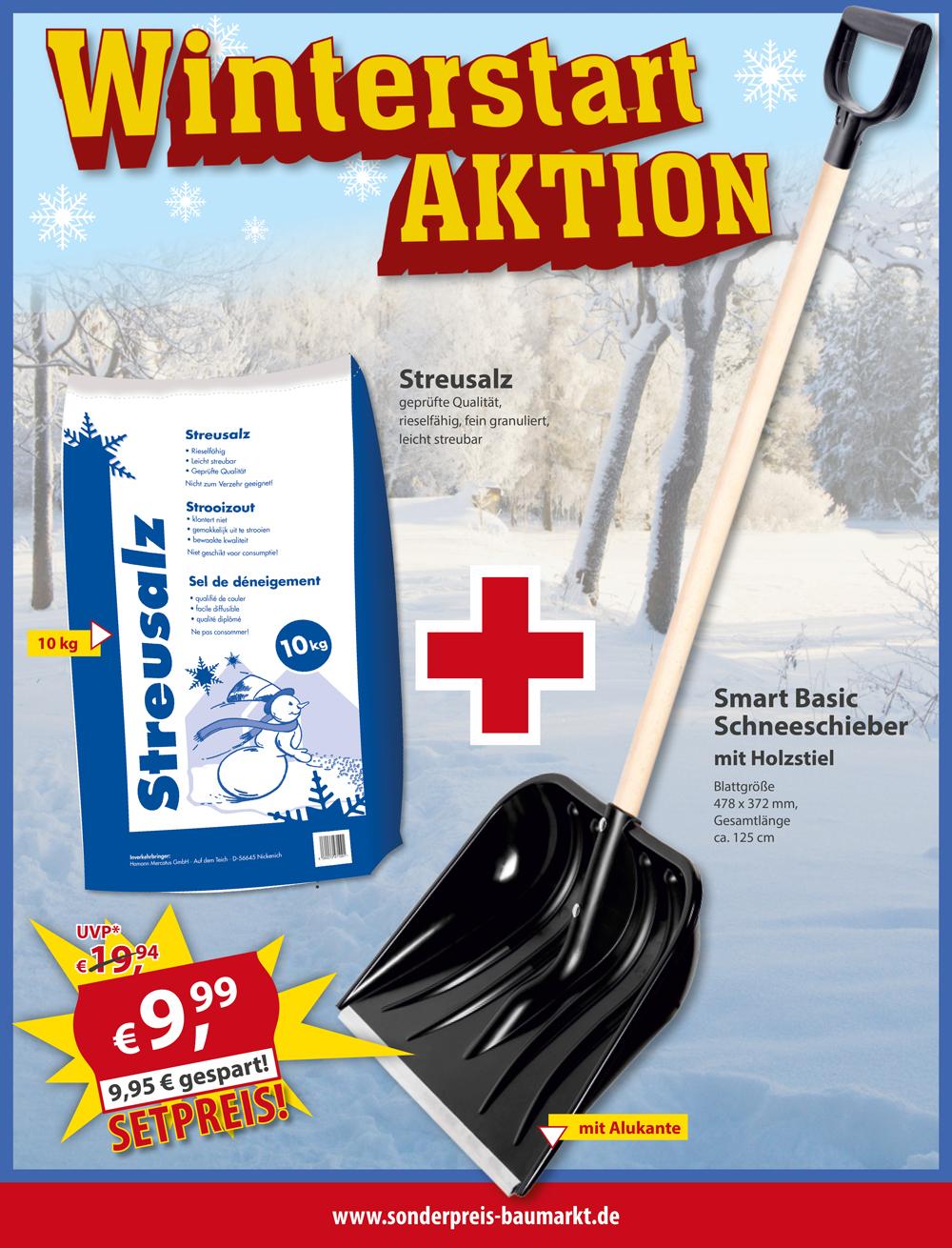 Offline bei Sonderpreis Baumarkt: Schneeschieber und 10 kg Streusalz für zusammen 9,99 €
