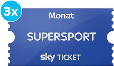 Sky Supersport Monatsticket (inkl. Bundesliga, Champions League) 3 Monate zum halben Preis (14,99€ mtl.)