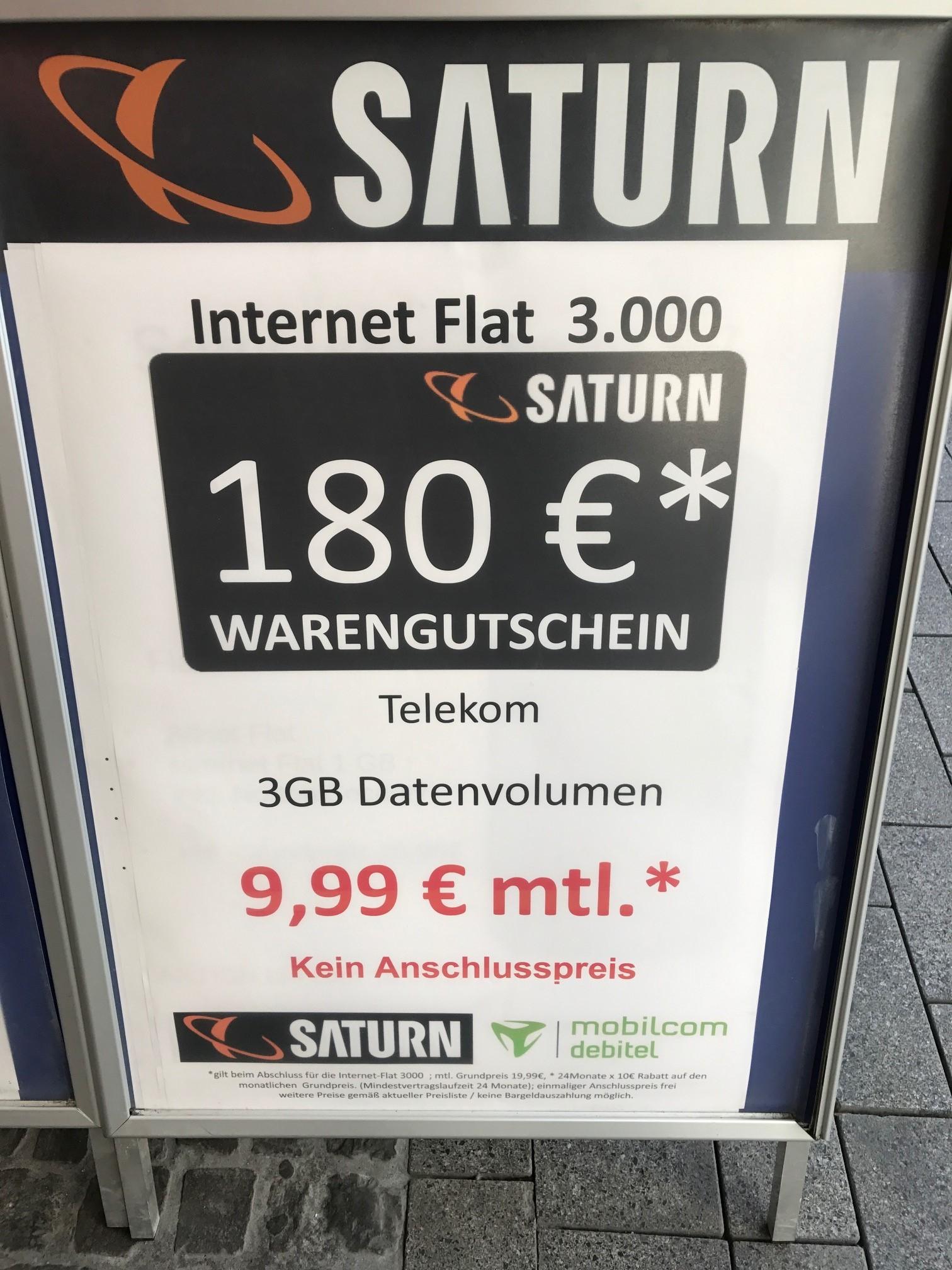 [LOKAL Saturn Dortmund-Innenstadt] mobilcom-debitel Internet-Flat 3.000 (LTE 50 MBits/Sek.) im Telekom-Netz für effektiv 2,49€ / Monat durch 180 EUR Saturn Gutschein