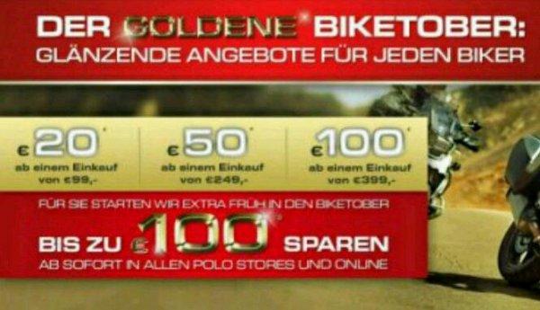 Motorrad Polo Aktion 20€ 50€ 100€ Sparen. z.b. Shark Spartan Carbon für 299€ (idealo 361€) Code: BIKE (on und offline)