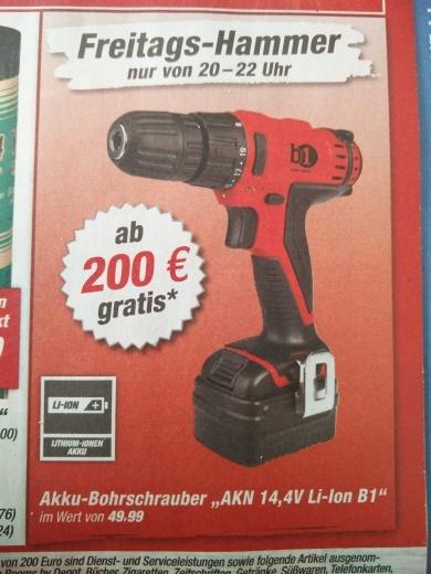 toom Baumarkt Akku-Bohrschrauber gratis ab 200€ Freitag 20-22 Uhr