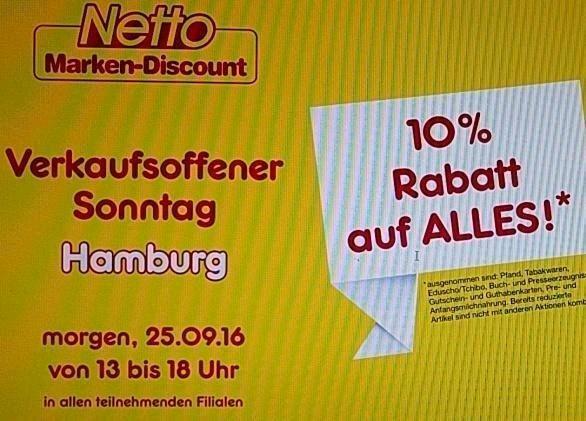 [lokal HH] Netto MD 10% Hamburg Verkaufsoffener Sonntag