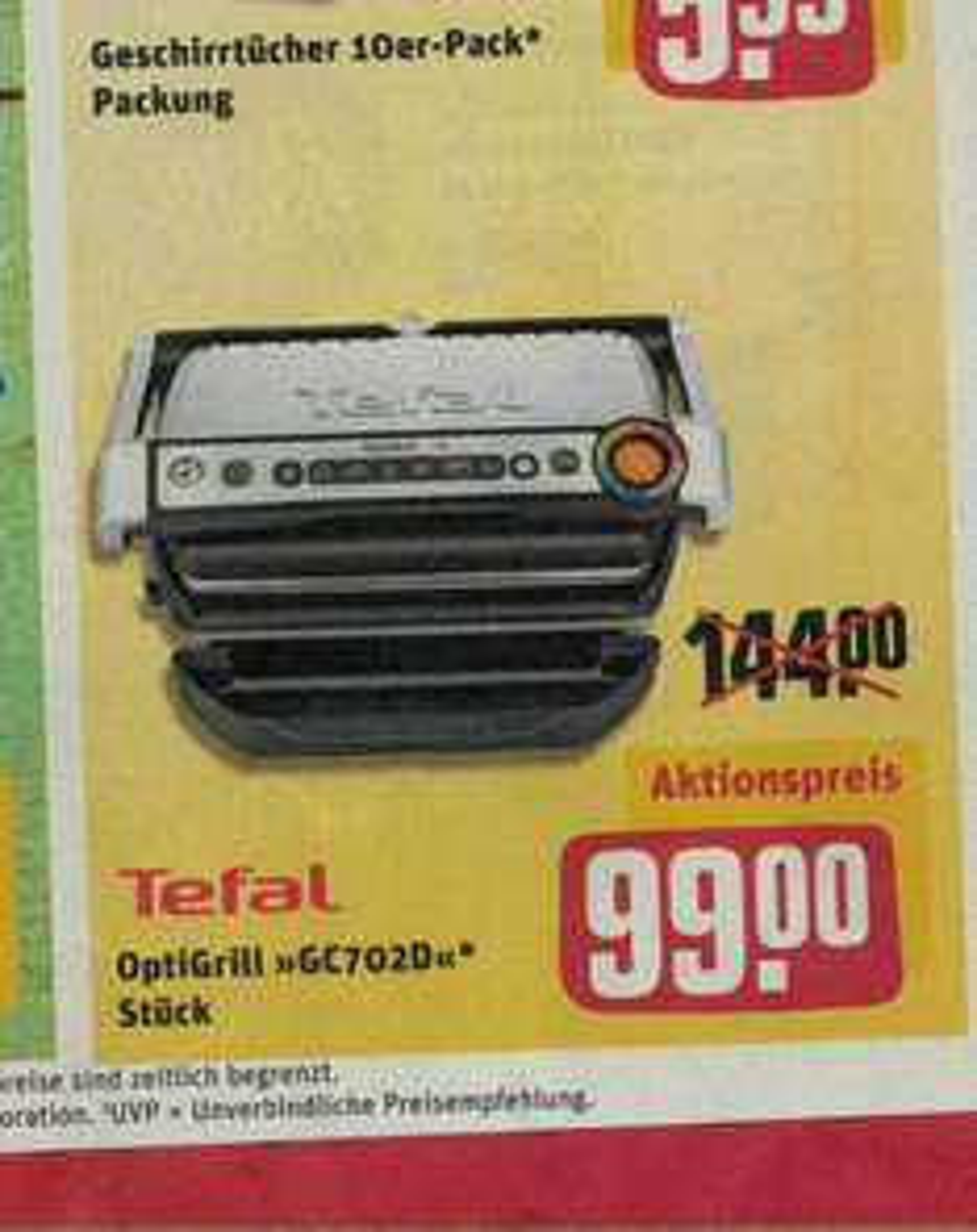 [Rewe - Dein Markt] TEFAL OptiGrill GC702D für sage und schreibe nur € 99.-