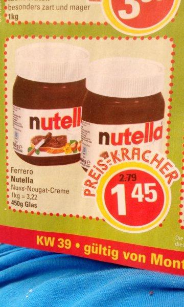 MARKTKAUF (fast BUNDESWEIT) NUTELLA 450g Glas 1,45€ ( ab 26.9.)