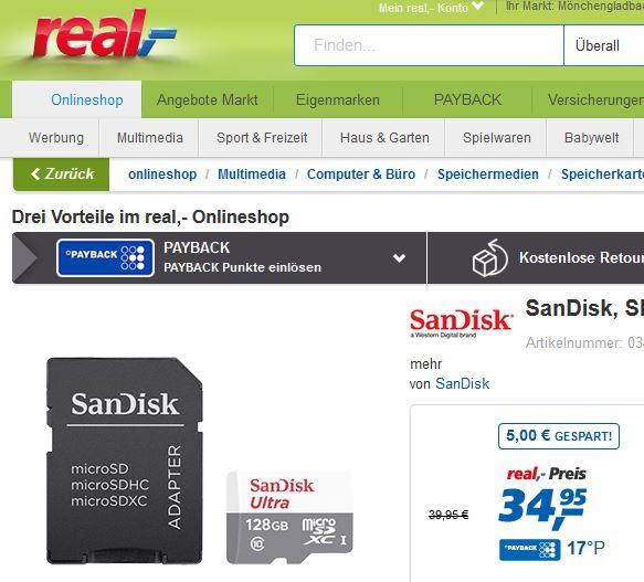 [real] bis 02.10.: SanDisk micro SDXC 128 GB ab 32,45 EUR