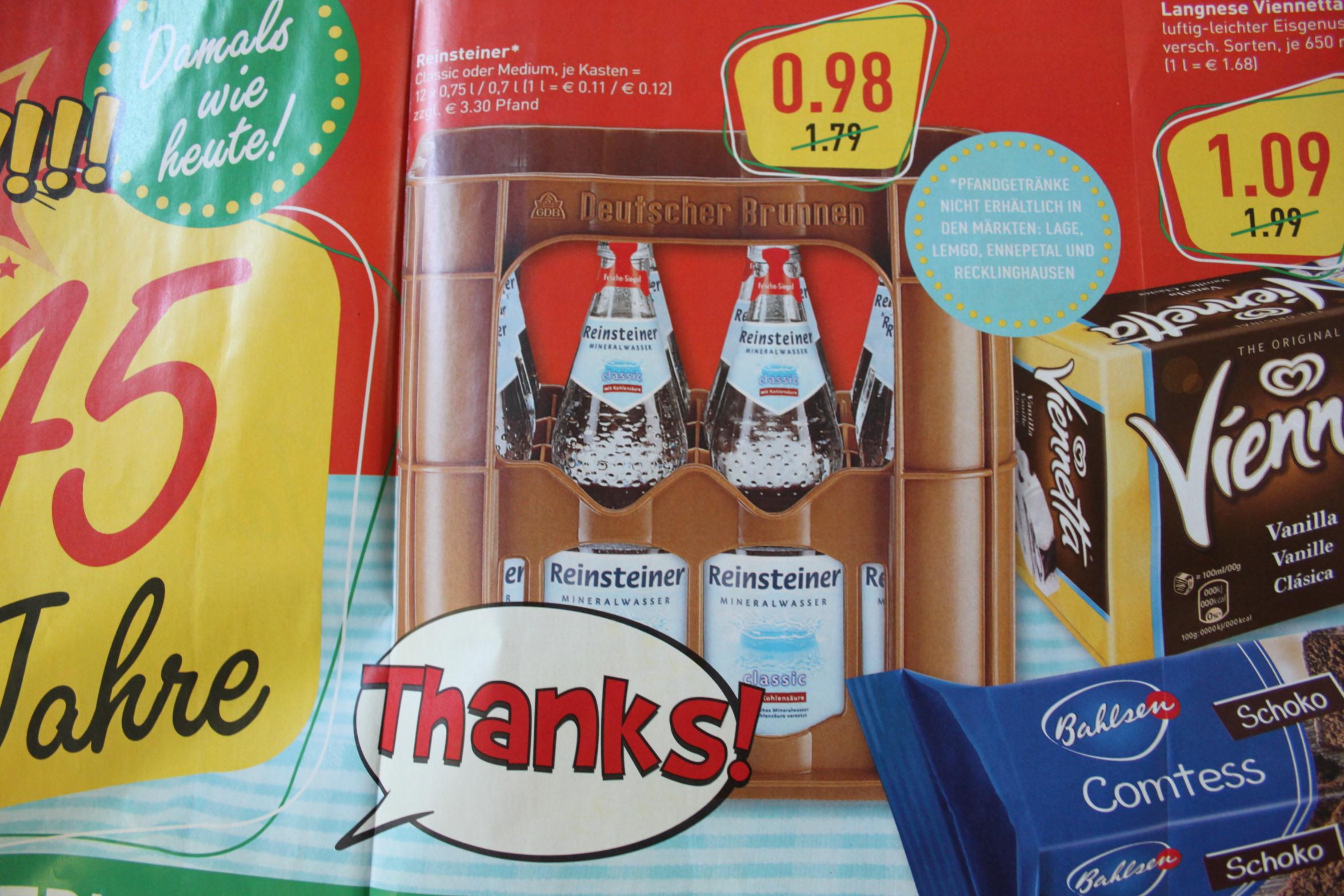 (NRW Marktkauf) Reinsteiner Mineralwasser in Glasflaschen. Kiste: 0,98€