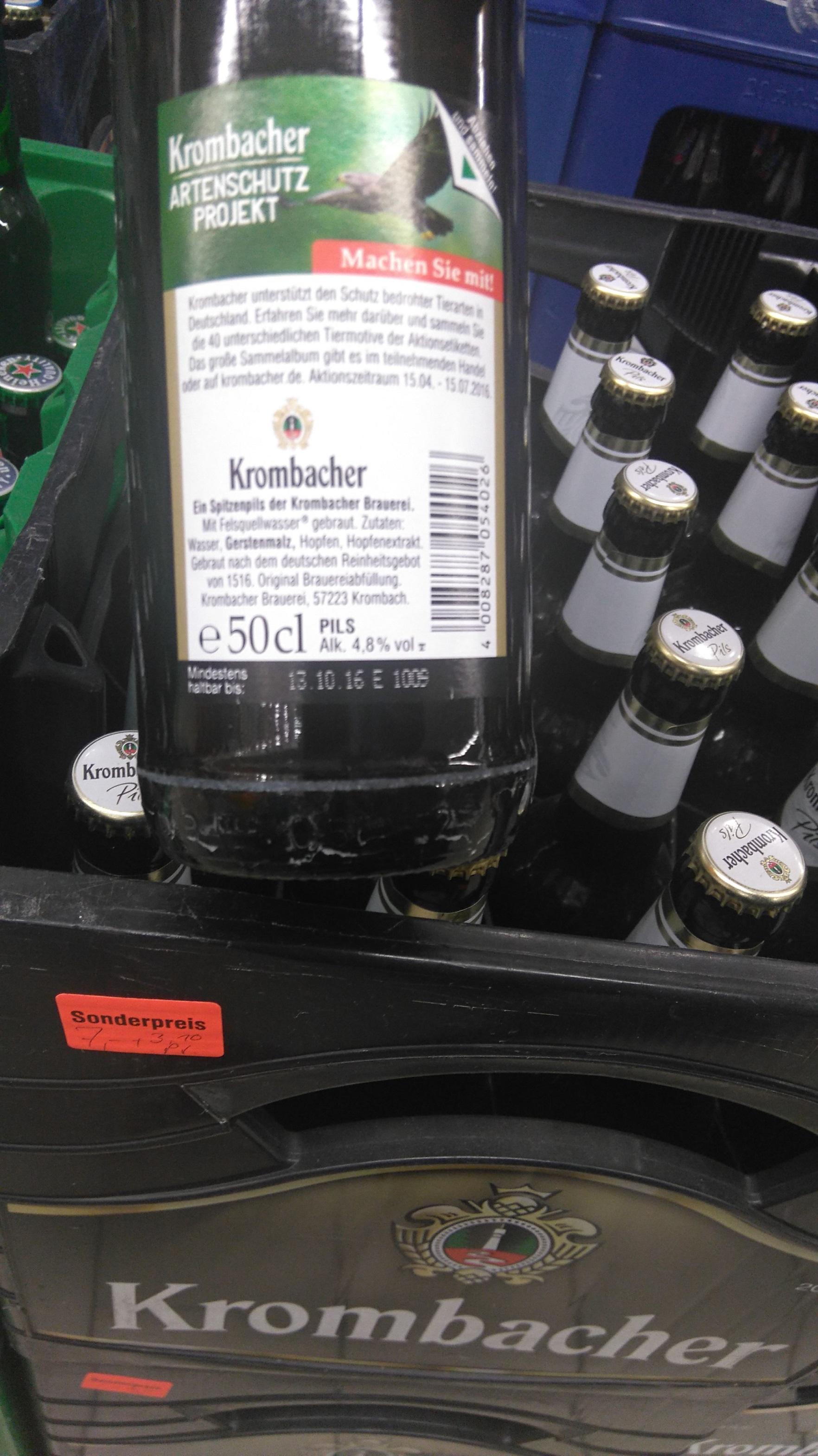 [Lokal REWE Beilngries] Krombacher Pils Kiste 20x0,5l für 7 € + 3,10 € Pfand, MHD 13.10.2016