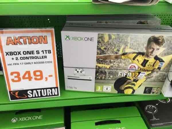 [Lokal Saturn HH Sasel] Xbox One S FIFA Bundle 1TB Festplatte + 2. Controller für 349€