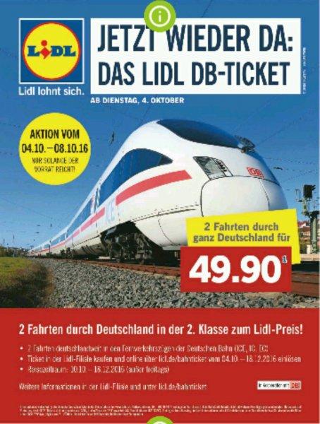 LIDL DB Ticket - 2 Fahrten für 49.90 (ICE/IC/EC) ab dem 4.10