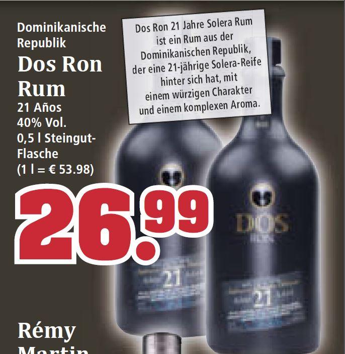 [Trinkgut] Dos Ron Rum 21 Jahre 0,5l 26,99 EUR + Übersicht Whisky Angebote - z.B.Glenfiddich 22,99€