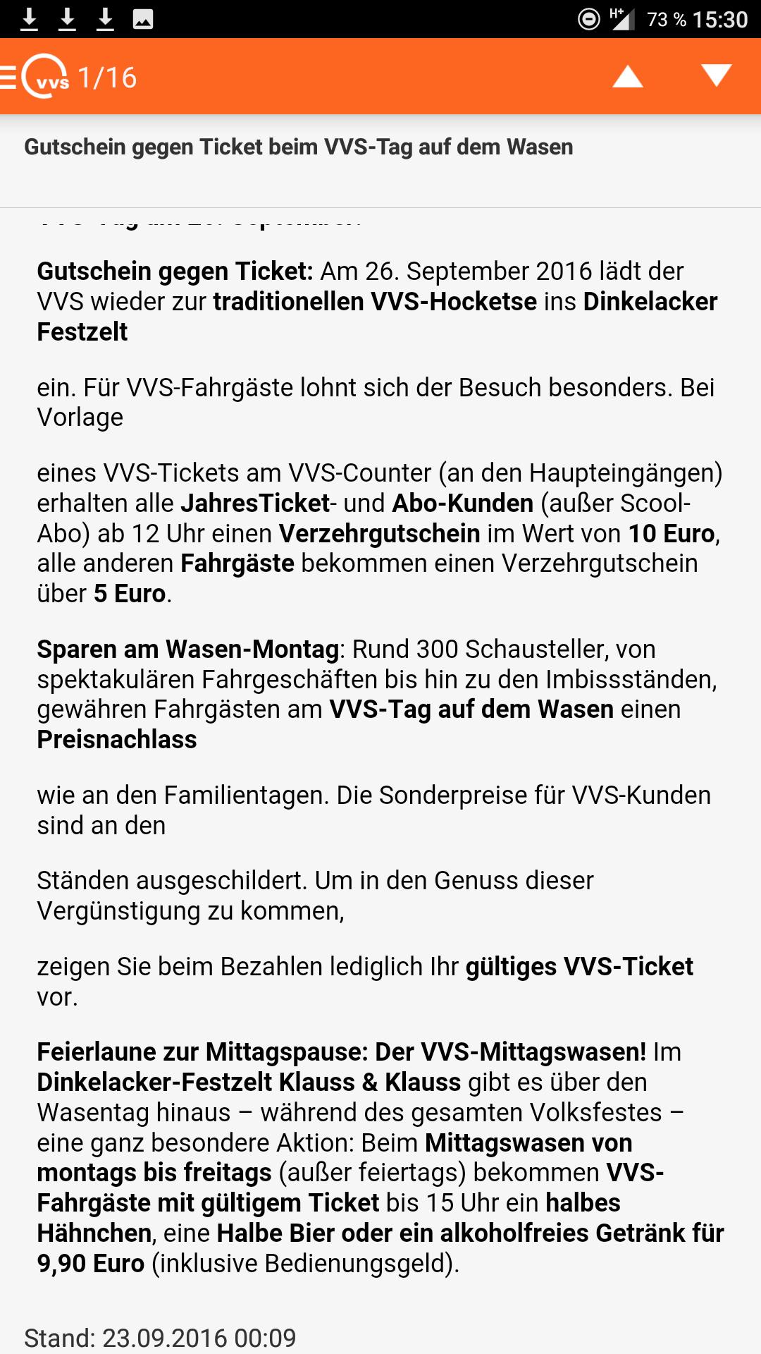 [Lokal Stuttgart] 10€/5€ Verzehrgutschein auf dem Wasen in Stuttgart für VVS Kunden