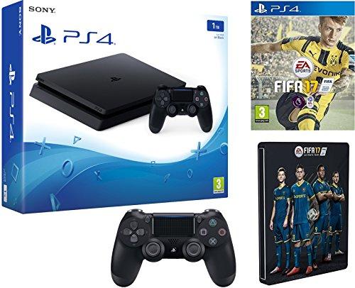 PS4 Slim 1TB inklusive Fifa 17 Steelbook und einen 2 PS4 Controller KK nötig amazon.co.uk
