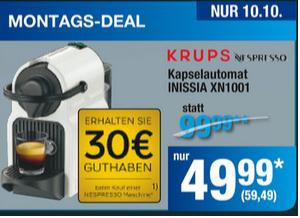 KRUPS XN1001 Nespresso mit 30€ für den Nespressoclub, in der Metro 59,49€ Nur am 10.10.2016
