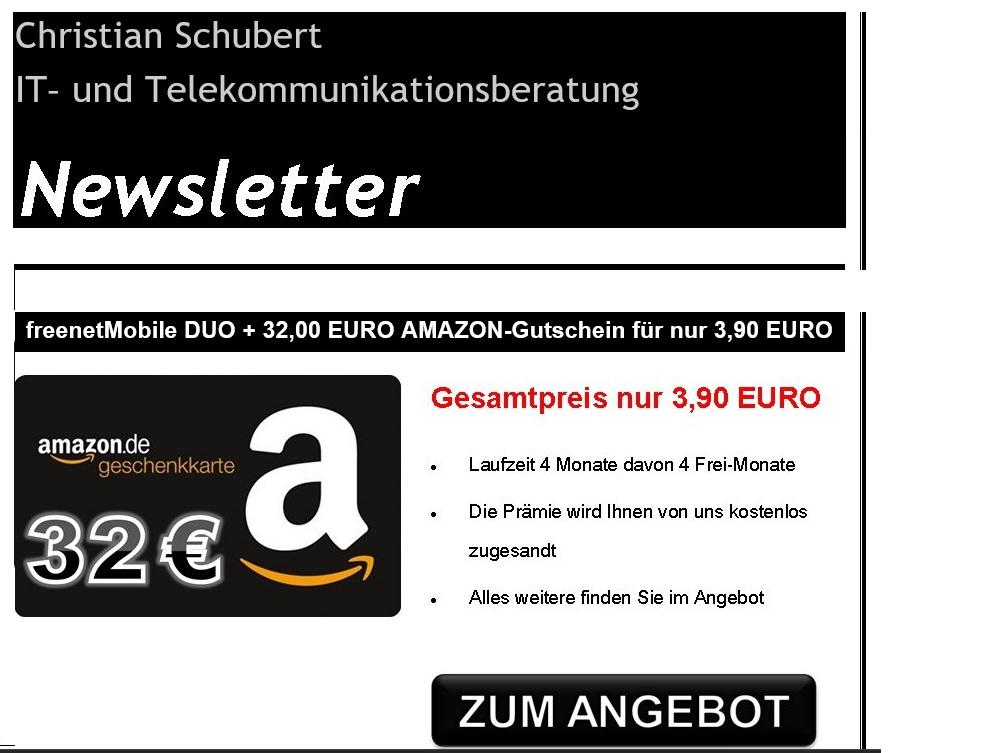 [EBAY]  32€ Amazon Gutschein für 3,90 Freenetmobile DuoSIM