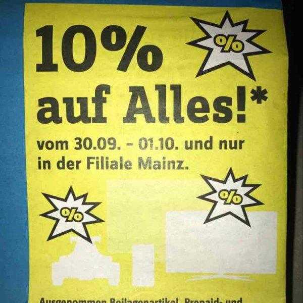 Conrad Mainz: 10% auf alles am 30.09. & 01.10. auch Apple