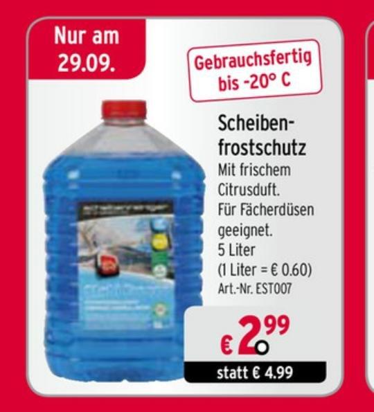 Scheibenfrostschutz 5l Kanister bis -20C° bei atu am 29.09.