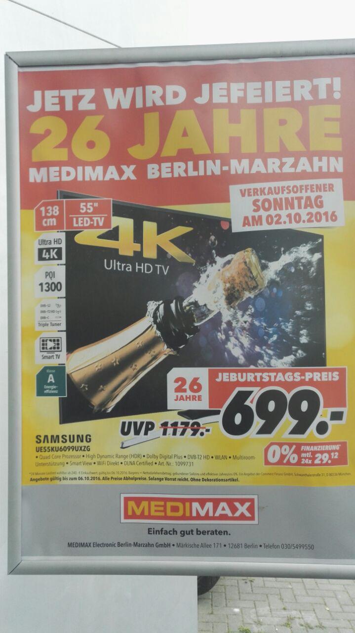 "[lokal MediMax Berlin Marzahn] Samsung 55"" 4k UHD TV UE55KU6099 für 699,- EUR"