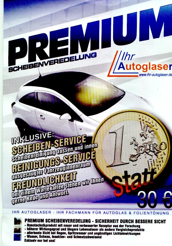 Ihr Autoglaser / Lokal in Köthen / Scheibenveredelung + Aussaugen für 1,00 Euro im Angebot, statt 30 Euro