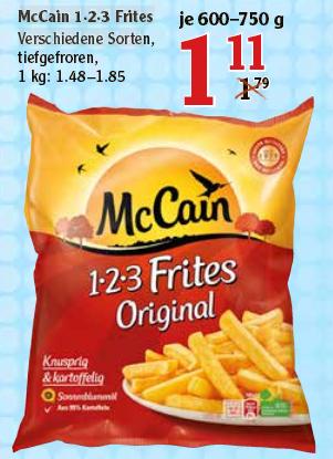 [Globus] McCain Frites  1·2·3 Frites Verschiedene Sorte  1,11€ teilweise für 41cent mit Coupon