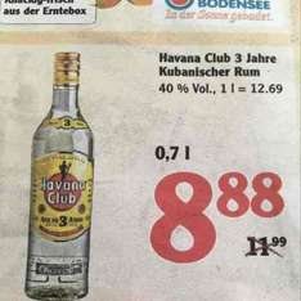 Havana Club 3 Jahre 0,7l (Globus Markt Halle Bruckdorf) Lokal aber wohl auch in anderen Filialen verfügbar