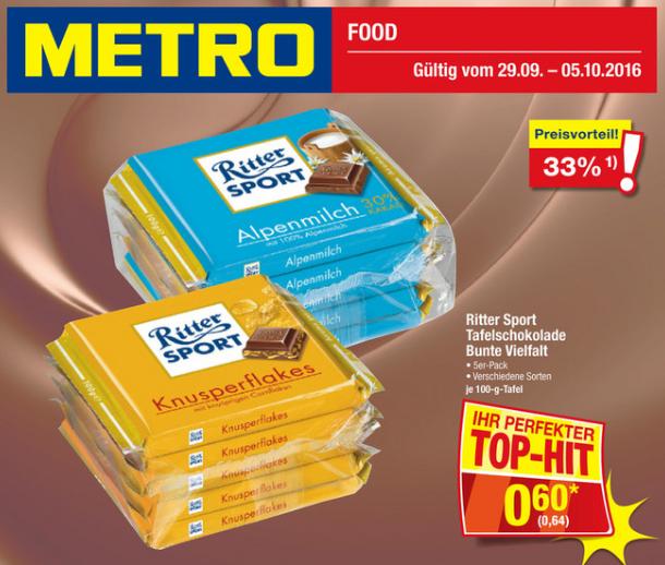 [METRO] Ritter Sport 5er-Pack (pro Tafel 0,64€)