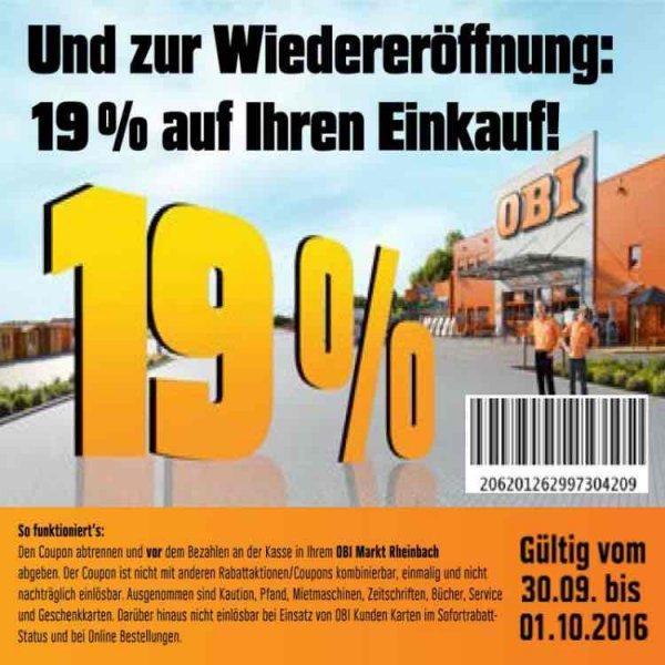 Obi 19% Rabatt in 53359 Rheinbach 30.09.-01.10.